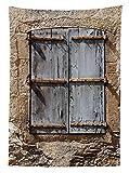 Yeuss Country Outdoor Tischdecke, altes Steinhaus mit Alten Alten Alten Fensterläden auf Dorfhaus Wandbild, dekorative abwaschbare Picknick-Tischdecke, grau Ecru, 60