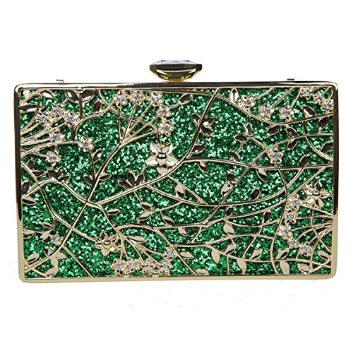 Bonjnavye Studded Rhinestone Floral Purse Party Clutch Handbags for Girls Mint Green