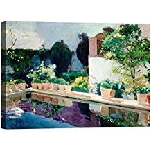 DìMò ART Cadre Impression sur toile avec châssis en bois Joaquín Sorolla y Bastida Palace of Pond, Royal Gardens in Seville 40 x 30cm