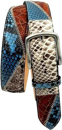ESPERANTO Cintura in Pitone, Pelle Bovina e Pelle di Struzzo, Lavorazione patchwork Piramidi - Altezza 4 cm