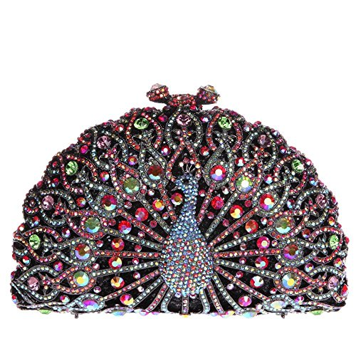 Santimon Donna Pochette Borsa Lusso Diamante Cristallo Pavone Borse Da Festa di Nozze Sera Con Tracolla Amovibile e Pacco Regalo 13 Colori nero