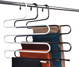BRANDER-Premium Quality Metal S-Shape 5 Layers Magic Hanger for Wardrobe, Sarees, Pants, Scarfs & Other Clothes(White){36 * 38CM}