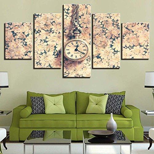 inwand Poster Arbeit Wohnzimmer Wandkunst 5 Stücke Retro Taschenuhr Dekoration Modulare Bilder ()
