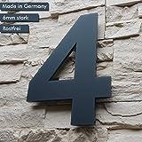 Hausnummer 4 ( 1-stellig / 26cm Ziffernhöhe ) in Anthrazit-grau, aus massiven 6mm Acrylglas - Original ALEZZIO Design - Rostfrei, UV-beständig und abwaschbar, Anthrazit wie Pulverbeschichtet RAL 7016, inklusive Montagematerial und Montageschablone für kinderleichte Montage