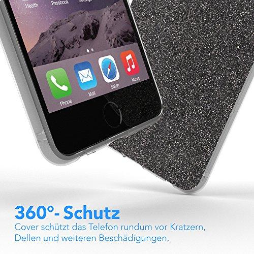 """Apple iPhone 6S / 6 Hülle, EAZY CASE Cover """"Henna"""" - Premium Handyhülle mit Indischer Sonne - Transparente Schutzhülle in Weiß / Transparent Anthrazit"""