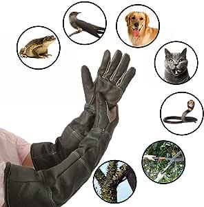 Gants Anti Coupure 23,6in//60cm Longs Gants en Cuir de Protection Gant de Cuisine Gants Anti morsures pour Chat et Chien Gants Jardinage PROKTH
