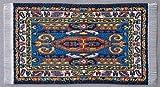 Miniatur Teppich, reines Polyester, für Krippe, Puppenhaus, blau.gelb. 5x9 cm