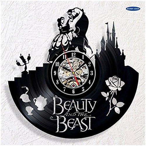 as Biest Schöne Schwarze Schallplatte Wanduhr Geschenk duvar saati saat reloj große Wanduhr duvar saati horloge mura, 4,12 inch ()