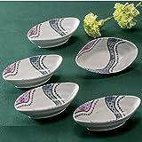 Jpanese Traditional Ceramic Kutani Ware. Set of 5. Small Bowls kobachi. Mesh. with Paper Box. ktn-K5-0215