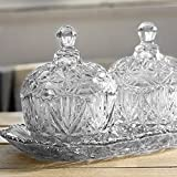 King International Stainless Steel Decorative Designer Crystal Platter With 2 Bowls With Lid And A Serving Tray