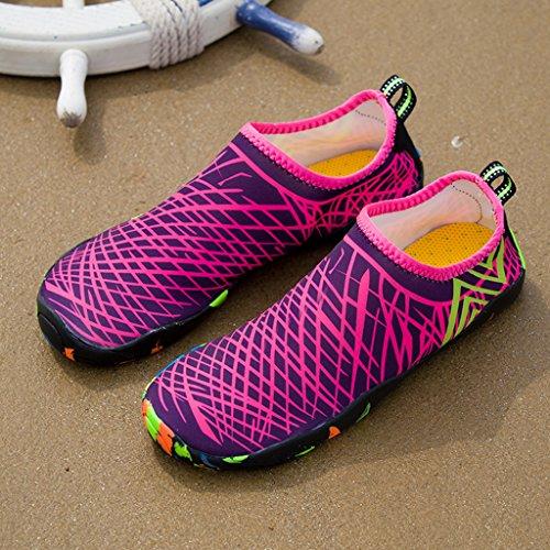 DoGeek Scarpe da Nuoto Scarpe da Immersione Scarpe Da Mare Scarpe Nero Giardini Acqua Scarpe uomo da Pantofole Spiaggia Pelle Sandali Rose