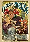 World of Art Vintage-Poster, Biere, Weine und Spirituosen, Motiv 'Biéres De La Meuse', 1897, von Alphonse Mucha, 250g/m², Hochglanz, Nachdruck, A3