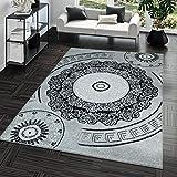 TT Home Kurzflor Teppich Preiswert Pflegeleicht Versace Muster Orient Optik Grau Schwarz, Größe:120x170 cm