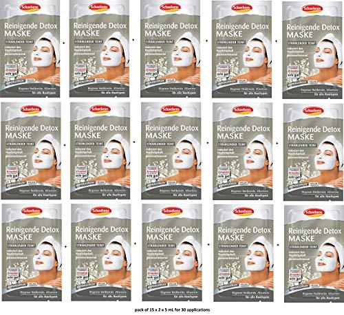 Schaebens Reinigende Detox Gesichtsmaske - mit Rügener Heilkreide, Allantoin, Panthenol und Süßholz-Extrakt - (15 x 2 Einheiten. 5 mL je Einheit - Für 30 Anwendungen) - Für alle Hauttypen