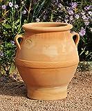 Kreta-Keramik exklusive terracotta Amphore mit Henkel, 35 cm von Hand gefertigt und absolut frostfest, Cassia 35