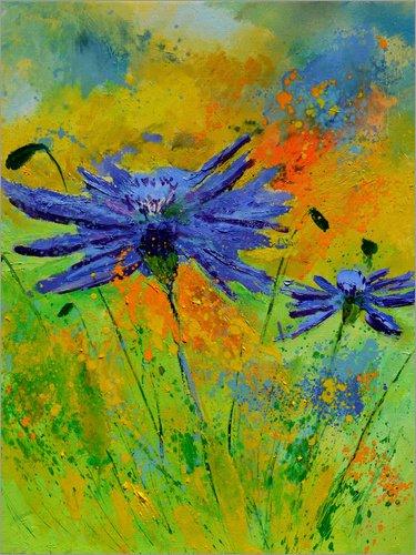 Alu Dibond 120 x 160 cm: Zwei Kornblumen von Pol Ledent