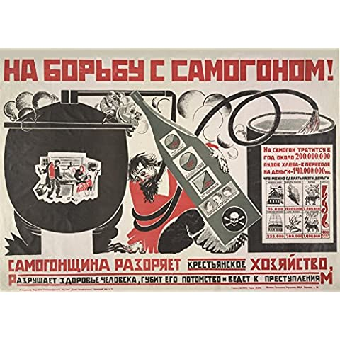Birre Vintage, i vini e alcolici e MOONSHINE HOME BREW e alcol, RUSSIA c1920-Cartolina illustrata, formato A3, 250 g/mq, riproduzione