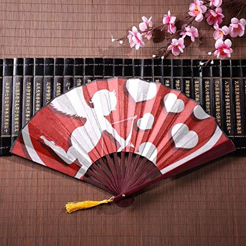 WYYWCY Mädchen japanische Fan süße Cupid mit Pfeil und Bogen mit Bambus Rahmen Quaste Anhänger und Stoffbeutel Falten Fans Bambus Handheld Fan japanische Fans Wanddekoration