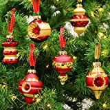 Valery Madelyn 16 Pcs 55-80mm Luxury Red Gold Glass Christmas Baubles Tree Decorations Novelty Ball Ornaments, 16 Pcs Metal Hooks Included, Themed with Tree Skirt (Not Included)