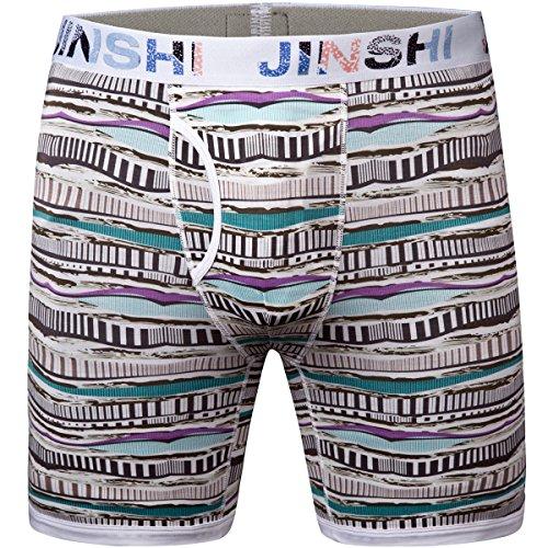 JINSHI Herren Lenzing Viscose Boxershorts Topqualität Boxer Briefs Langes Bein Trunks Flexible Retroshorts Gestreift Size XL (Trunk Gestreift Baumwolle)