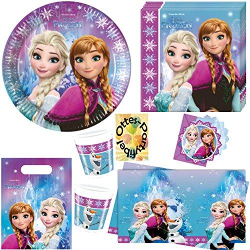 Eiskönigin Anna & ELSA 49 Teile Partyset für 6 Kinder Teller Becher Servietten Tischdecke Tüten Einladungen ()