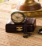 Brass Compass on Chain with Wood Box by Wind & Weather®