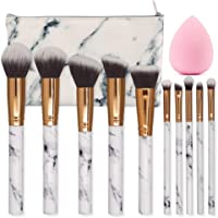 SEPROFE Make Up Brushes 10 Pieces Marble Pattern Professional Makeup Brush Set Kabuki Foundation Blending Concealer Eye...
