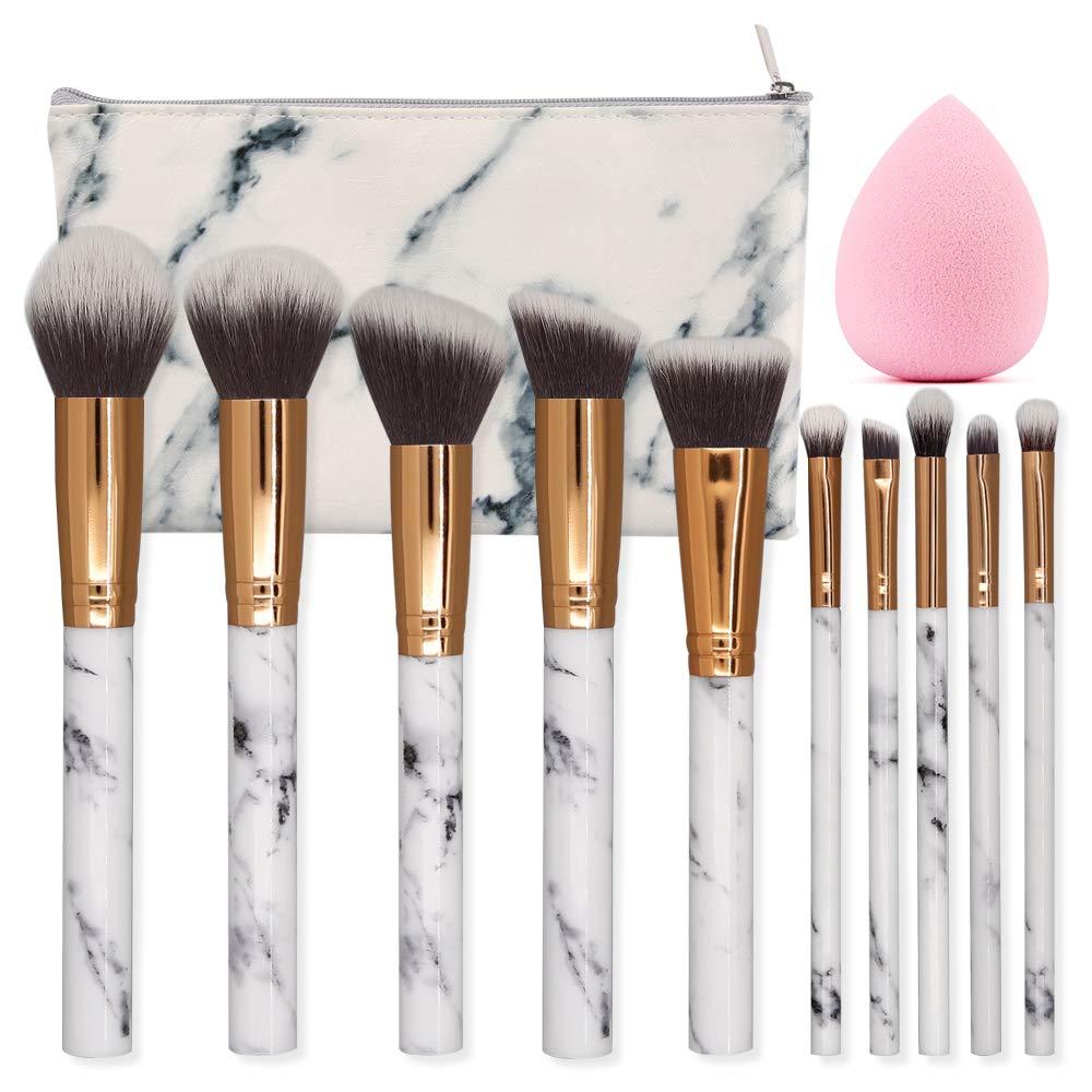 23cee74c0c21 SEPROFE Make Up Brushes 10 Pieces Marble Pattern Professional Makeup Brush  Set Kabuki Foundation Blending Concealer Eye Face Liquid Powder Cream ...