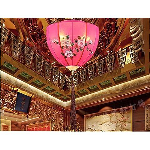 BIU Creative Studio camere da letto il lampadario di ristorante albergo stile cinese cinese tessuto lampada E27 , rose red