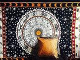Tapiz único Indio, Negro, Blanco, Naranja, estrología, zodíaco, para Colgar en la Pared, Mandala, Hippie, Gitano, decoración de Dormitorio Bohemio, 100% algodón, Doble de 203 x 137 cm