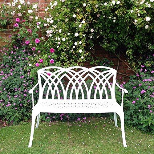 Lazy Susan – SANDRA Quadratischer Kaffeetisch mit 1 APRIL Gartenbank – Gartenmöbel Set aus Metall, Weiß (Terracotta Kissen) - 5