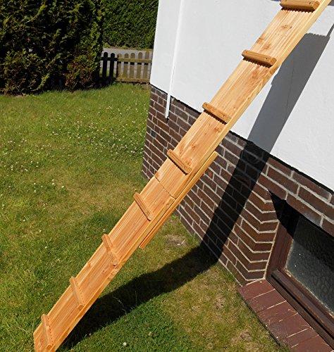 Jennys Tiershop 2 Meter! Katzenleiter/Katzentreppe mit Einem Verbinder für Balkon, Mit Gummiklemmschellen. Extra 21 cm Breit. Douglasie