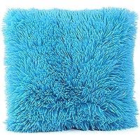 99native Taie d'oreiller en Coton Polaire Couleur Pure rétro,Coton Doux en Lin Couvre-Lit Taie d'oreiller Canap¨¦ Voiture Housse de Coussin Home Decor Lit 45 cm x 45 cm (Bleu Ciel)