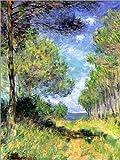 Posterlounge Leinwandbild 100 x 130 cm: Nadelbäume in Varengeville von Claude Monet - fertiges Wandbild, Bild auf Keilrahmen, Fertigbild auf Echter Leinwand, Leinwanddruck
