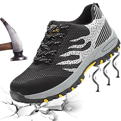 XIAO LONG Damen Herren Sicherheitsschuhe Arbeitsschuhe Atmungsaktiv Stahlkappe Schutzschuhe Traillaufschuhe für Sommer,Grau,46