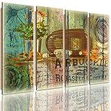 Feeby Frames, Cuadro de pared - 4 partes - Cuadro decorativo, Cuadro impreso, Cuadro Deco Panel, Tipo C, 120x80 cm, VINTAGE, RADIO, PRETZELS, CAFÉ, FLORES, DOBLE EXPOSICIÓN, MULTICOLOR