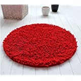 Alfombras, Luxbon Alfombra Redonda 14 Colores Diámetro 100/60/80cm Decorativo Salón Dormitorio Ba?o(Rojo oscuro)