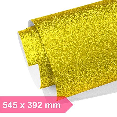Kultloggen Glitzer Papier Gold Glänzend Glitzerpapier Bastelpapier Glitter Geschenkpapier Faltpapier Rolle Sparkling für Fotografie Hintergrund DIY Handwerk (545 x 392 mm)