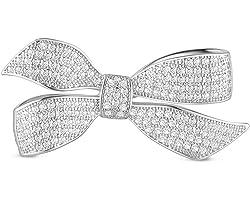 SHEGRACE Donna Spille Fiocco Spilla Micro Pavimenta 3A Cubic Zirconia Bowknot, Riutilizzabile, Regalo per la Damigella d'Onor