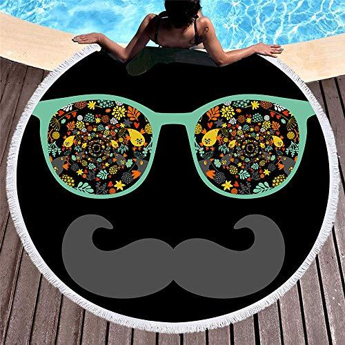 WANGXIAOYOU Superweiche Brille Bart Print, Mikrofaser Runde Strandtuch Mit Quasten, Badetuch Schal Picknickdecke Tischdecke Tapisserie, 150X150 cm (59 Zoll)