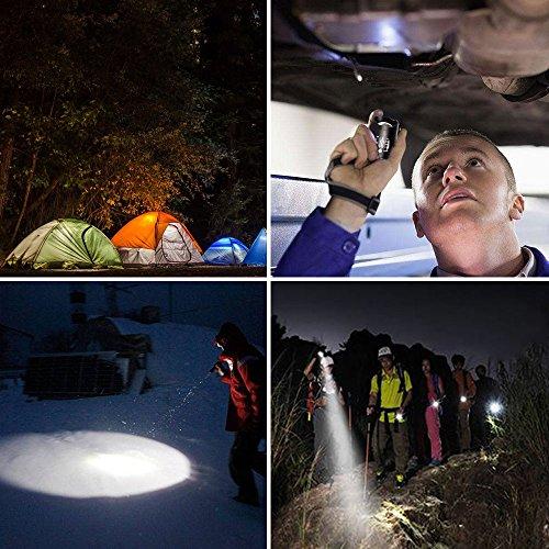 Bagotte LED Super Hell 1600 Lumen CREE T6 Taktische 5 Leuchtmodi, Zoombar Wasserfest Tragbare Taschenlampen mit Einstellbar Fokus für Wandern Camping Handlampe, Schwarz (2 Stück) - 7