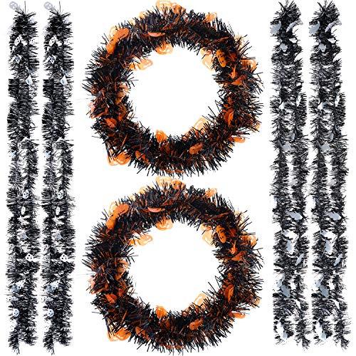 Jetec 6 Stück Halloween Lametta Girlande Kunststoff funkelnd Hängedeko Dekoration für Innen und Außen Halloween Party Supplies Orange Schwarz Weiß