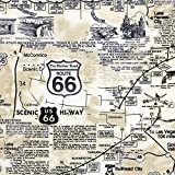 Timeless Treasure Stoff Baumwollstoff Motorrad Route 66 Map Natural Meterware Stoff zum Nähen