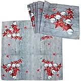 COM-FOUR® 2-teiliges Tischdecken Set aus Tischdecke und Tischläufer im weihnachtlichen Design mit roten Sternen (02-teilig - rote Sterne)