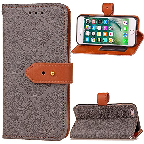 BONROY® Magnetic Flip Cover for iPhone 6 6S (4,7 Inch),European style mural embossed Wallet Case with Hand Strap for iPhone 6 6S (4,7 Inch), Premium PU Leather Folio Style Retro PU Leather Wallet Flip with Card Slots and and Stand Function Case Cover for iPhone 6 6S (4,7 Inch) Test