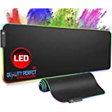Quality Perfct Large RGB Gaming Mouse Pad Extended, Glowing Computer Keyboard Mousepad Water-Resistant with Non-Slip Rubber B