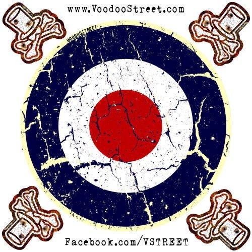 Rot, Weiß und Blau Rondell Aufkleber mit 4Free Mini Logo Aufkleber