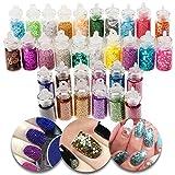 3d diseños de nail art manicura Set de 32botellas con purpurina de colores, brilla brillante decoraciones, Beads perlas caviars en muchos diferentes colores