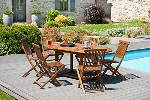 MACABANE 501192 Salon de Jardin Couleur Miel en Teck Dimension 120/180cm X 90cm X 75cm