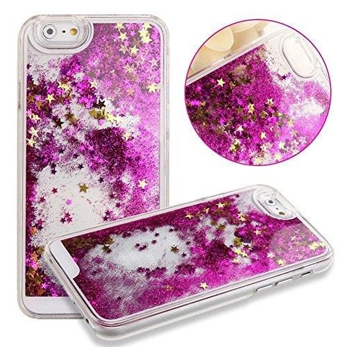 nnopbeclik iPhone se 55S Liquido per cellulare trasparente Custodia trasparente lucido 3d e glitter star stelle liquido con liquido Custodia Bumper Cover Case Custodia trasparente Crystal Case Custod Rosa